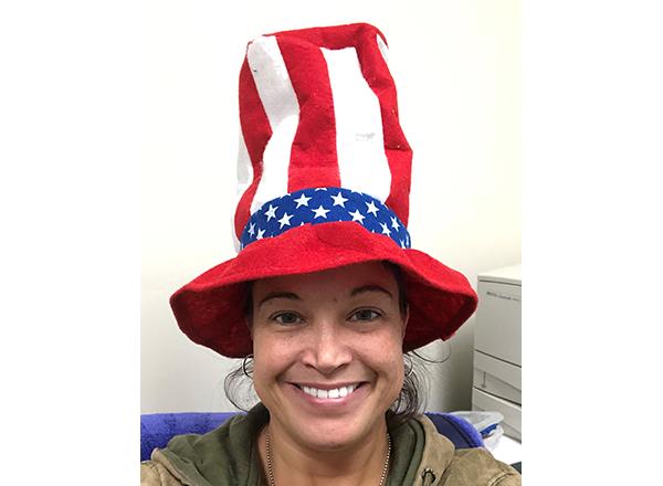 HFC student veteran Nina Denny shows off her patriotic spirit.