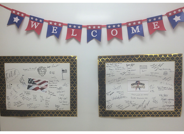50 HFC students signed poster boards thanking vets for their service. The posters were sent to the Elks Lodge in  Flat Rock.