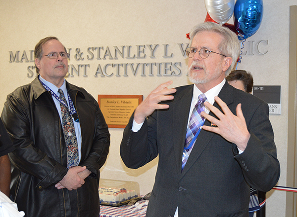 VP for Student Affairs Daniel Herbst spoke at the dedication. Associate Dean Bob James is in the background.