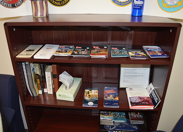 A resources bookcase in the Veterans Center.