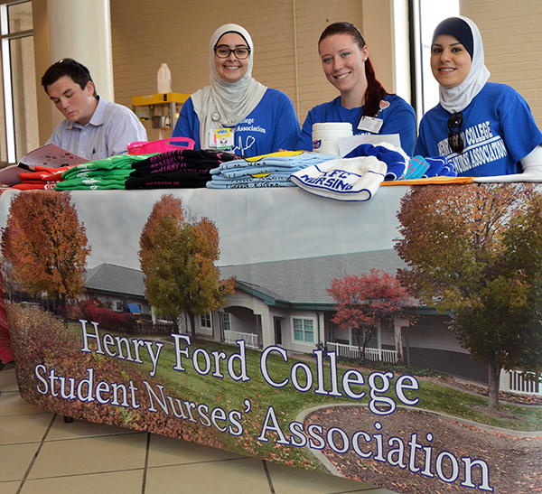 The HFC Student Nurses Association prepare to sign up new members at last year's Welcome Back Days.