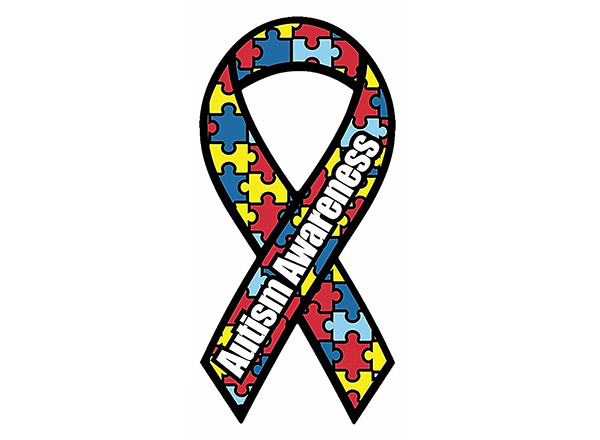 Autism Awareness ribbon in primary colors
