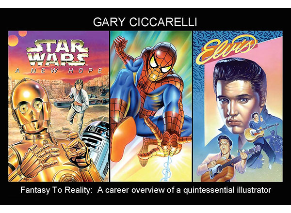 Card featuring art by Gary Ciccarelli (drawings of Spider Man, C-3PO, and Elvis)