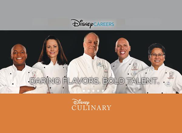 Disney culinary logo, photo of 5 chefs in chef garb
