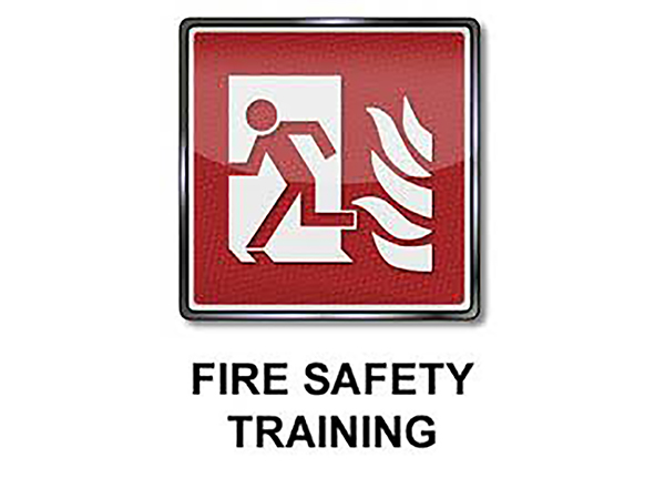 Fire Safety Training image (line drawing of figure running from flames)