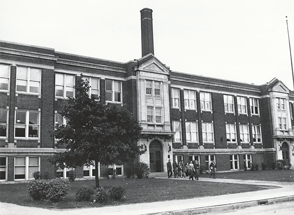 Historic image of Fordson high school, the site of the fledgling Fordson Junior College