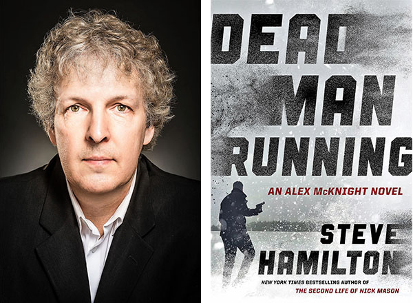 Headshot of Steve Hamilton next to cover of book, Dead Man Running