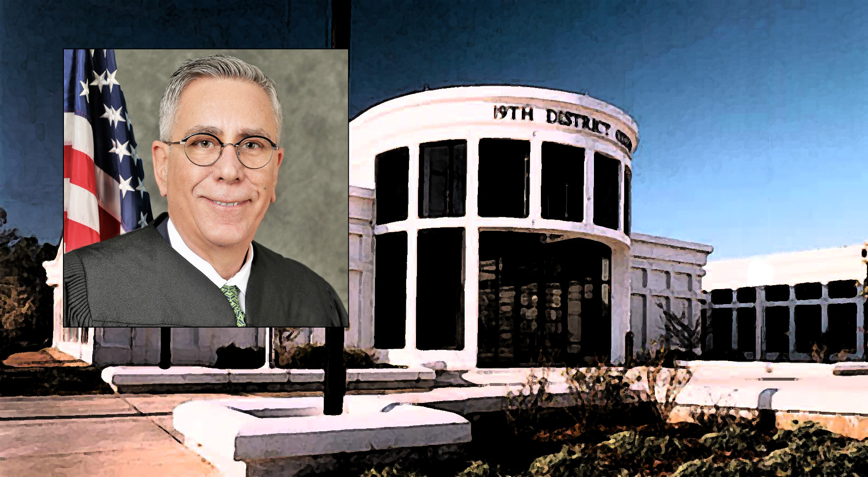 Judge Hunt and illustration of 19th District Court building