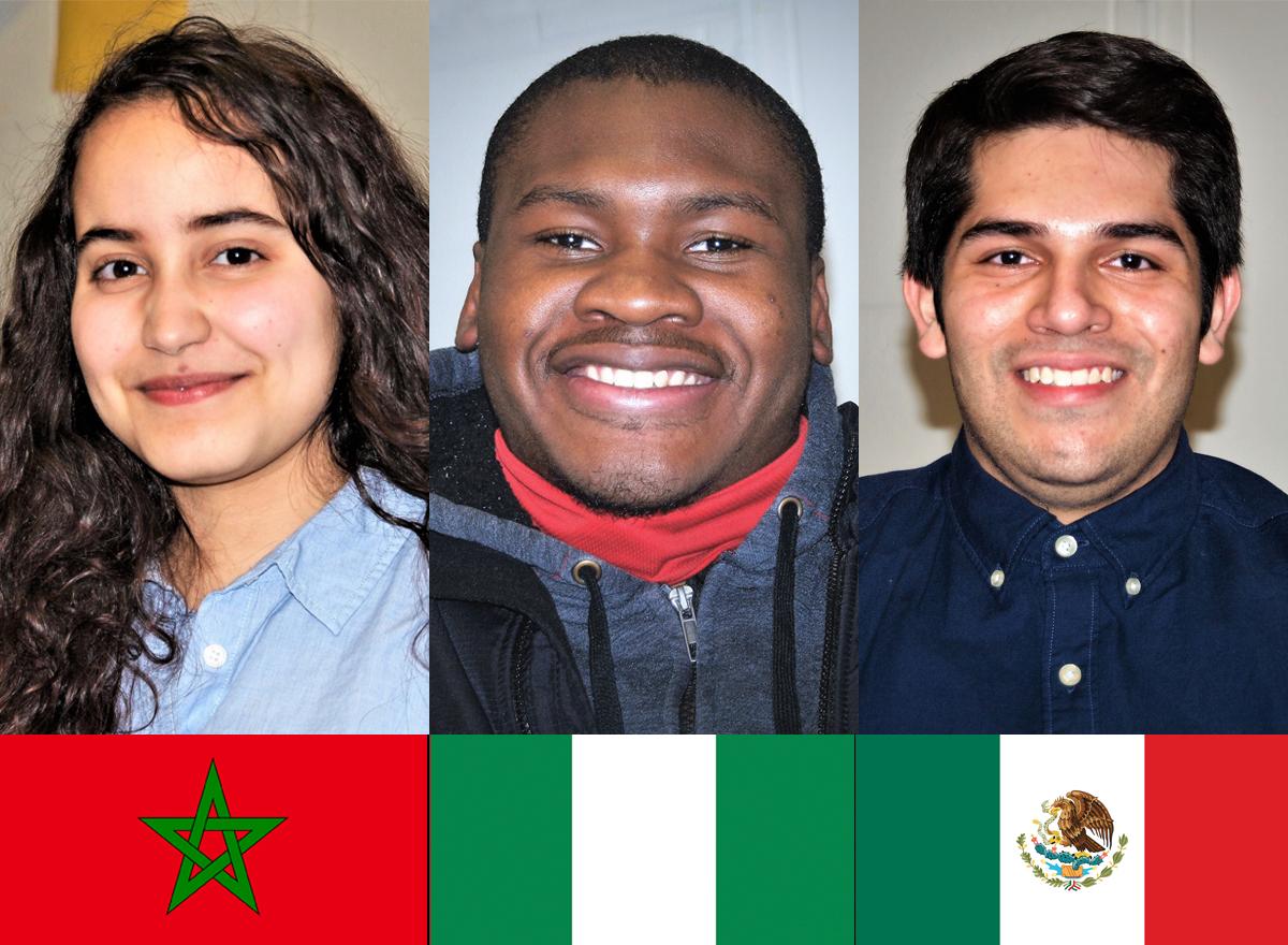 International scholarship students Aya Semlali, Edwin Uchendu, and Carlos Garcia Santacruz