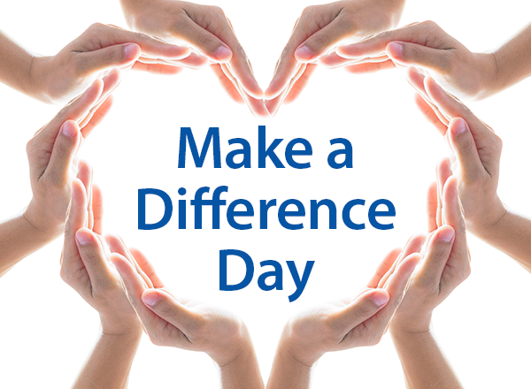 Hands shaped to form a heart, Make a Difference Day in the middle