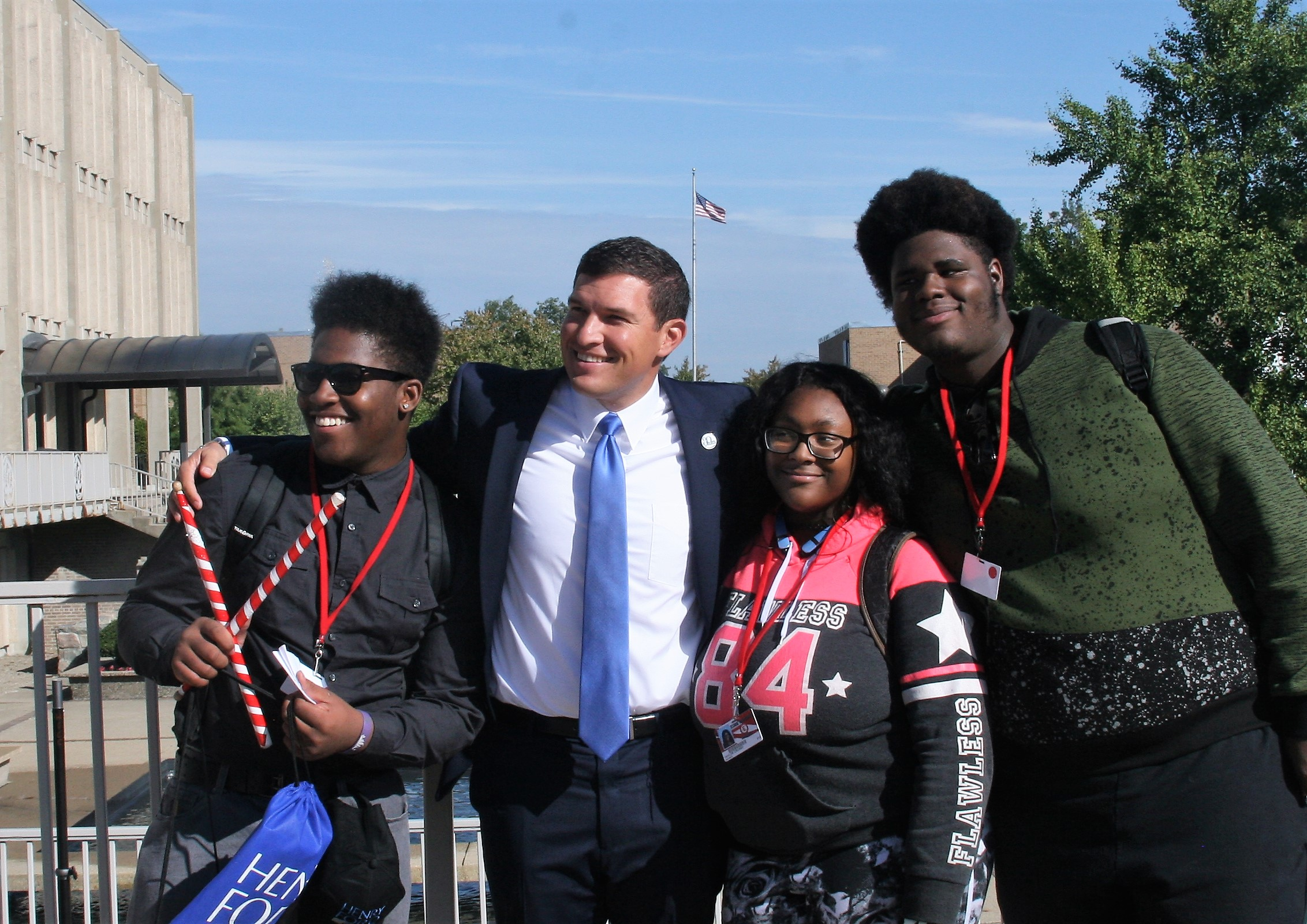 Russ Kavalhuna and three students from Ecorse High School