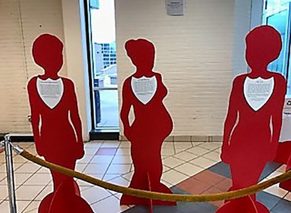 red cut-outs for sexual assault awareness day
