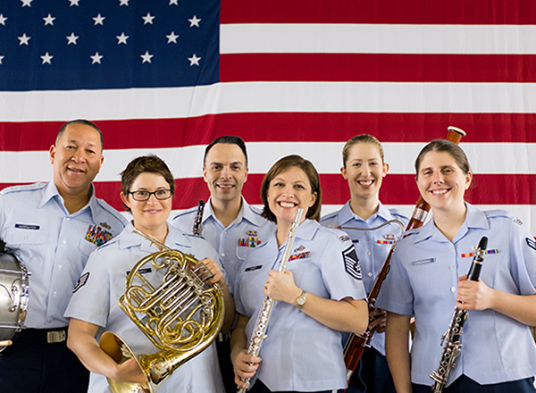 Members of the United States Air Force Freedoms Winds musical ensemble (pictured here) will collaborate with the Henry Ford College Metropolitan Symphony Band at the Spring Symphony Band Concert on Wednesday, April 26, at 8 p.m., at the Ford Community & Performing Arts Center.
