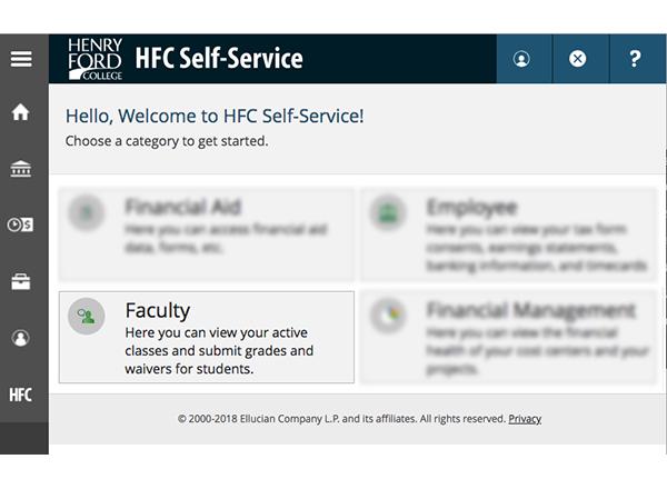 Screenshot of self-service