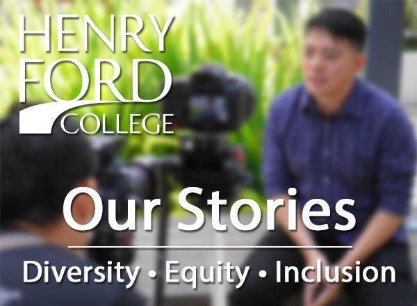 Blurred photo of a man in front of a camera; text overlay says Our Stories: Diversity, Equity and Inclusion