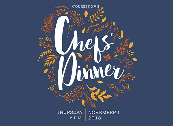 Chef's Dinner in stylized text with graphical treatment