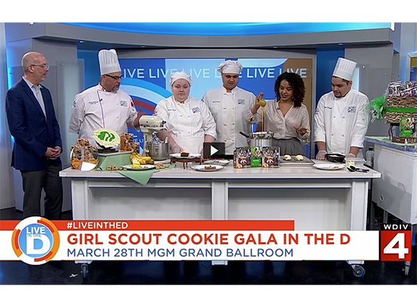 Six people behind a cooking table, WDIV Local 4 Studios