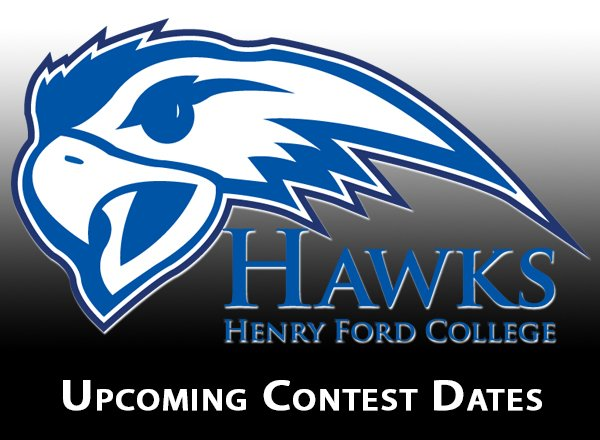 """HFC Hawks Logo with """"upcoming contest dates"""""""