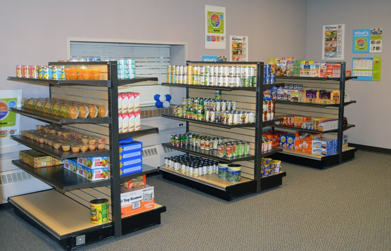 The Hawks' Nest is set up like a grocery store and provides food for needy students.
