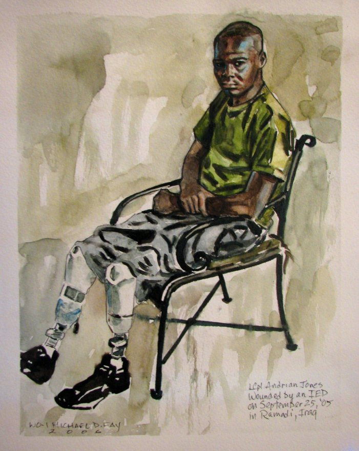 Artist Mike Fay's work showing LCpl Andrian Jones, who was wounded by an IED Sept. 2005 in Ramadi, Iraq