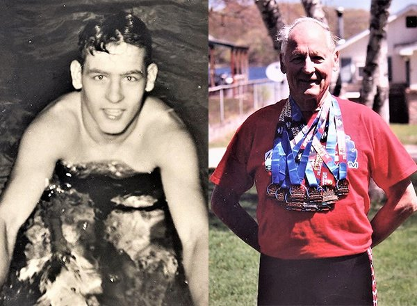 Lockwood in pool, ca. 1952, and Lockwood today with his medals