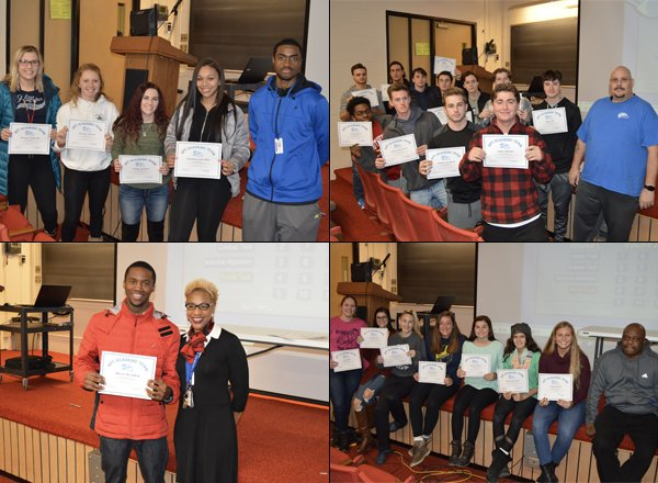 Four photos of HFC athletes holding certificates