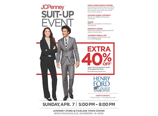 Ad for HFC/JCPenney Suit-Up Day w/ 2 models in professional attire